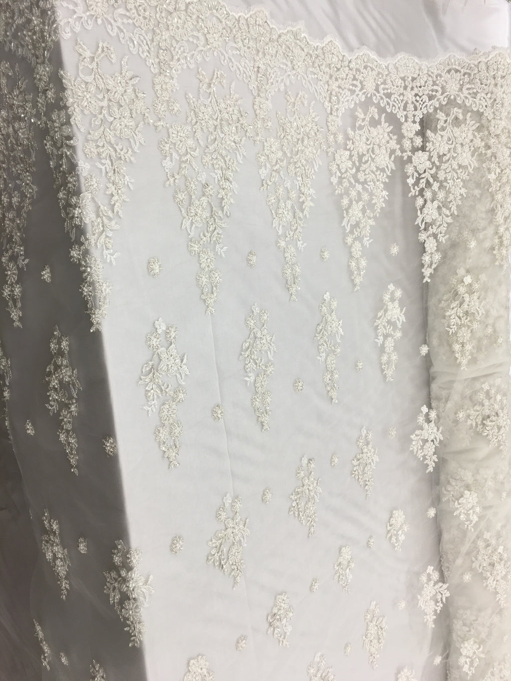 Bridal Beaded Fabric By The Yard Ivory Lace Heavy Beads For Bridal Veil Flower Mesh Dress Top Wedding Decoration