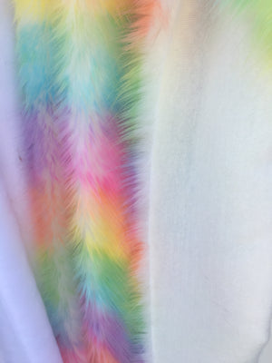 Faux Fake Fur Wave Rainbow Long Pile Fabric / Wave Rainbow / Sold By The Yard Pastel Colors