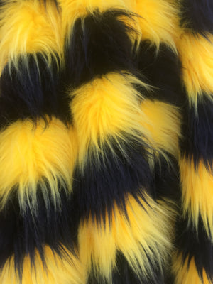 Faux Fake Fur 2 Two Tone Striped Long Pile Fabric / Black/Yellow / Sold By The Yard