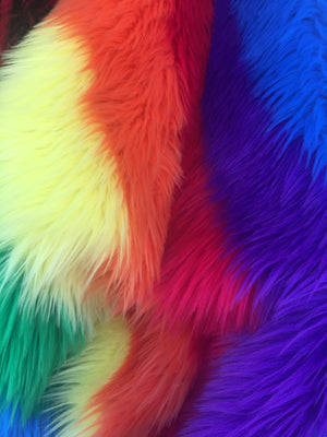 Faux Fake Fur Striped Rainbow Long Pile Fabric / Rainbow / Sold By The Yard Red Royal Orange Yellow Purple