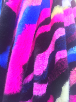 Camouflage Fake Fur Fabric / Fuchsia Pink Blue / Sold By The Yard - KINGDOM OF FABRICS