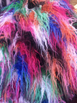 Multi-Color Alpaca Faux Fur Fabric / Rainbow / Sold By The Yard