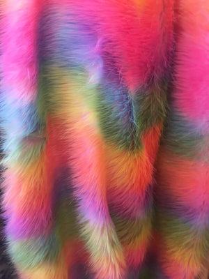 Faux Fake Fur Wave Rainbow Long Pile Fabric / Wave Rainbow / Sold By The Yard Yellow Pink Peach Green