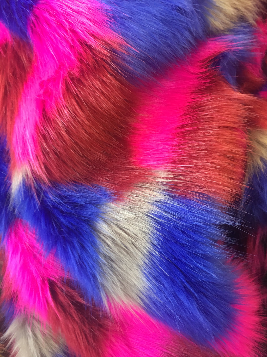 Faux Fake Fur Mosaic Rainbow Long Pile Fabric / Rainbow / Sold By The Yard Royal Fuchsia Silver