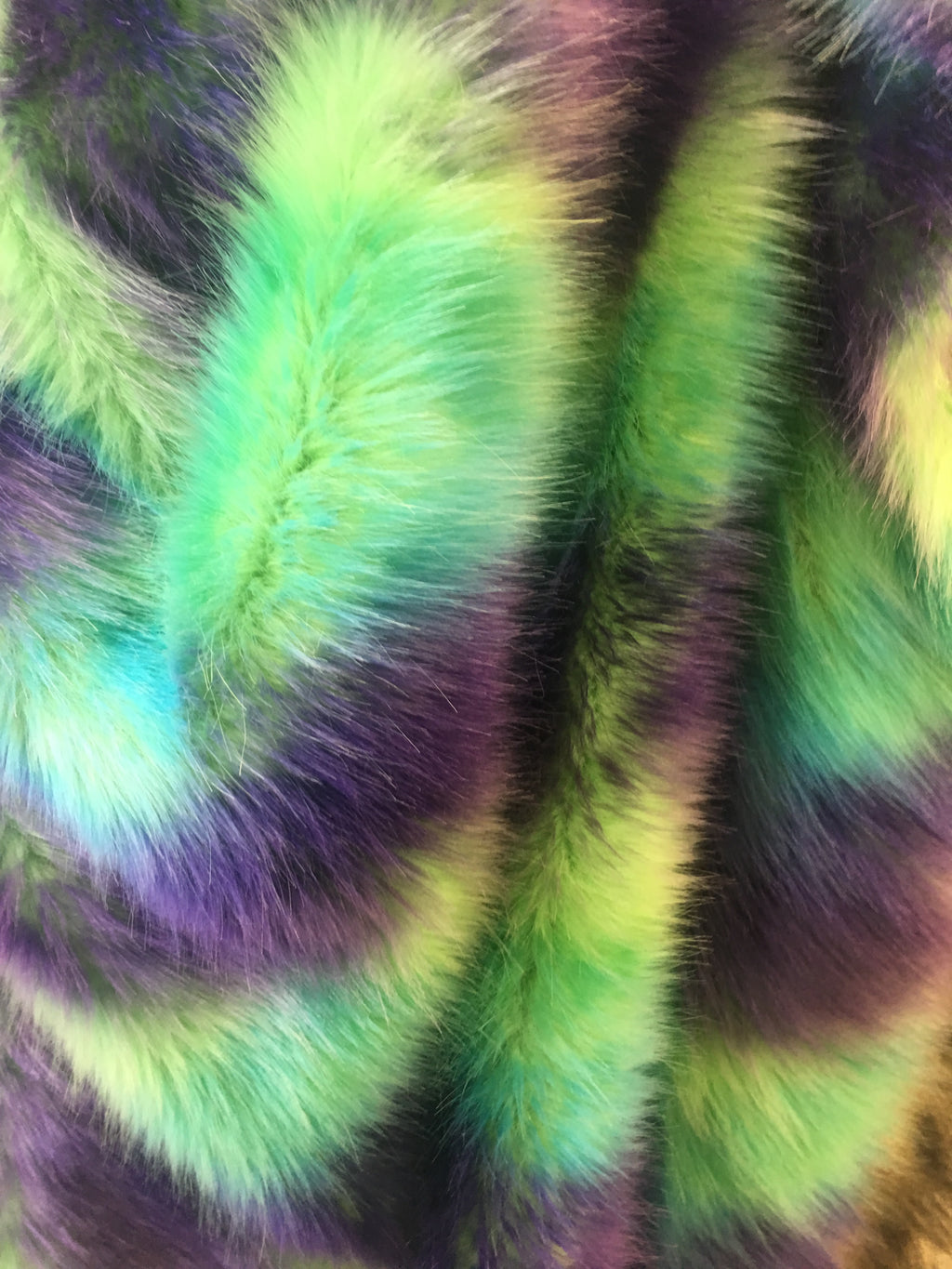 Faux Fake Fur Wave Rainbow Long Pile Fabric / Wave Rainbow / Sold By The Yard Neon Green Purple