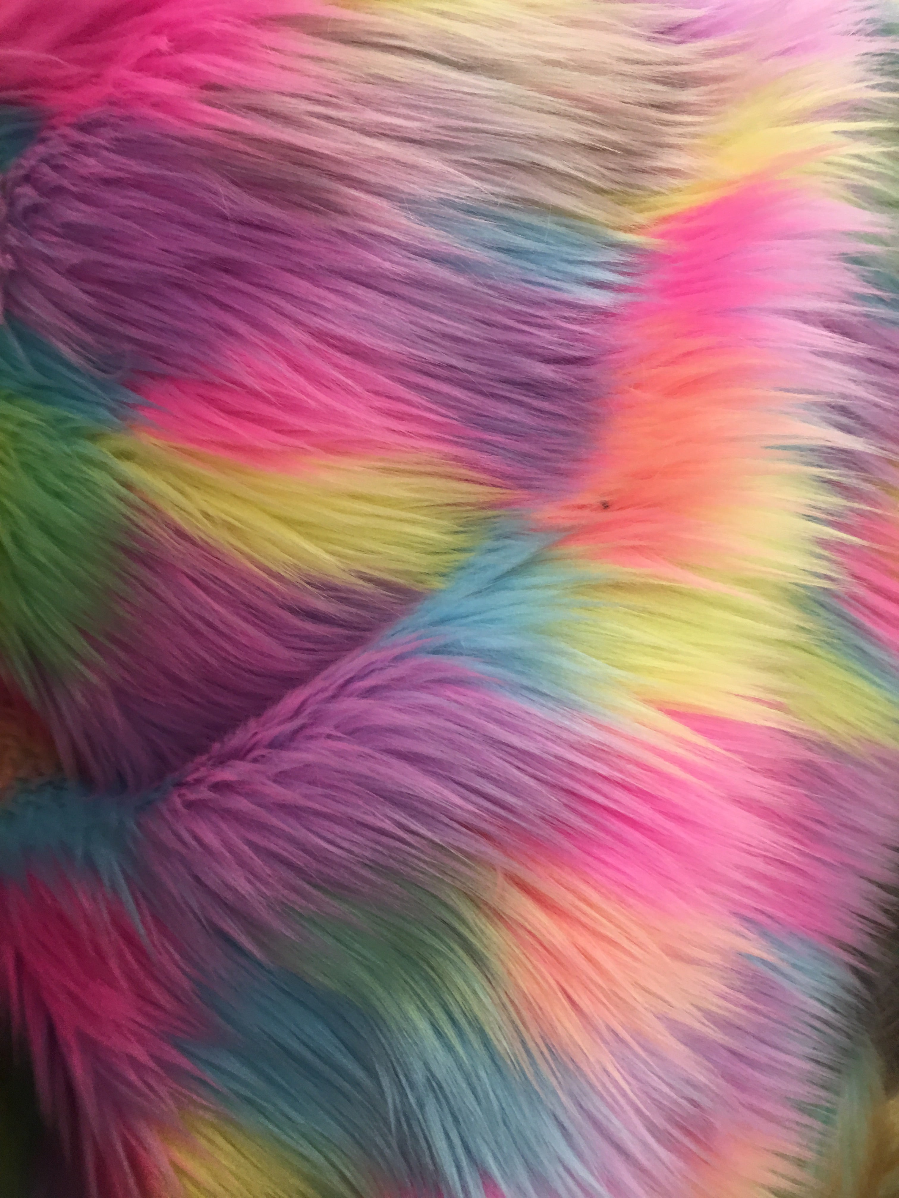 Tribal Multi Color Costume Coat Faux Fur Fabric / Bubble Gum / Sold By The Yard
