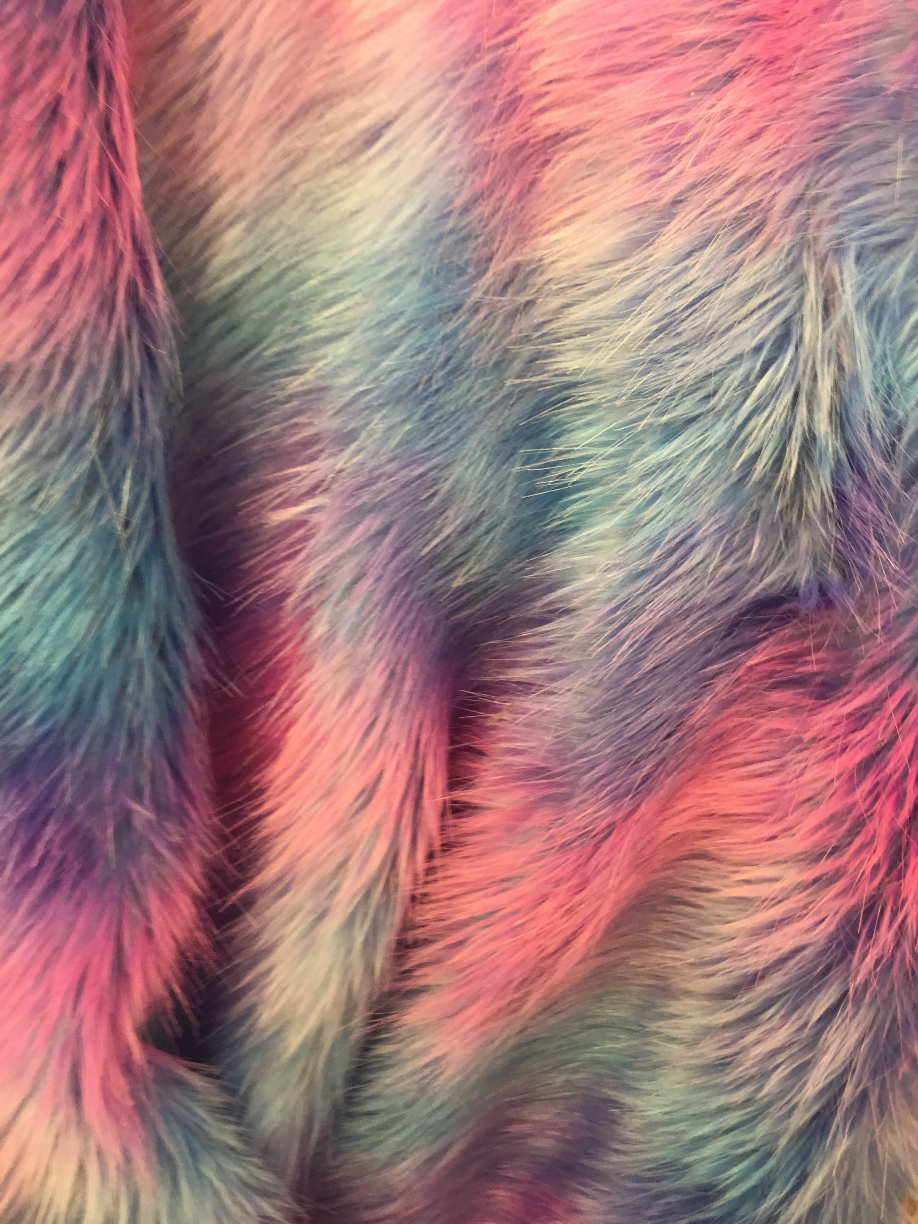 Faux Fake Fur Wave Rainbow Long Pile Fabric / Wave Rainbow / Sold By The Yard Pink Blue