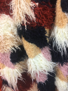 Tribal Multi Color Costume Coat Faux Fur Fabric / Sold By The Yard Ivory Beige Brick