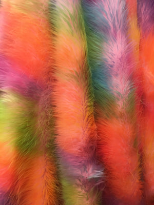 Faux Fake Fur Wave Rainbow Long Pile Fabric / Wave Rainbow / Sold By The Yard Peach Pink Green