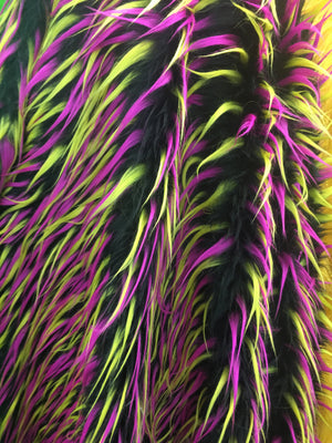 Faux Fake Fur 3 Tone Spiked Shaggy Long Pile Fabric / Pink Yellow on Black / Sold by The Yard