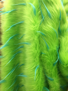 Faux Fake Fur 2 Tone Spiked Shaggy Long Pile Fabric / Turquoise/Lime / Sold By The Yard