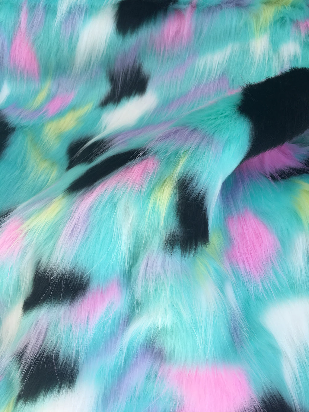 Tribal Multi Color Costume Coat Faux Fur Fabric / Rainbow Aqua Pink Black / Sold By The Yard