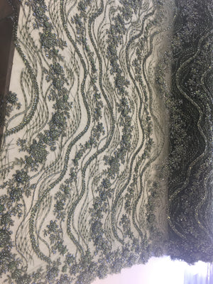 Shop Heavy Beaded Mesh Lace Olive Green Beaded Fabric Lace Fabric By The Yard Embroider Beaded On A Mesh For Bridal Veil