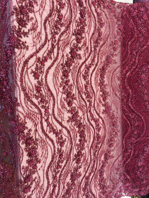Shop Heavy Beaded Mesh Lace Burgundy Beaded Fabric Lace Fabric By The Yard Embroider Beaded On A Mesh For Bridal Veil