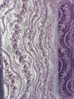 Shop Heavy Beaded Mesh Lace Eggplant Beaded Fabric Lace Fabric By The Yard Embroider Beaded On A Mesh For Bridal Veil