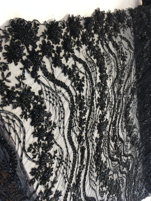 Shop Heavy Beaded Mesh Lace Black Beaded Fabric Lace Fabric By The Yard Embroider Beaded On A Mesh For Bridal Veil