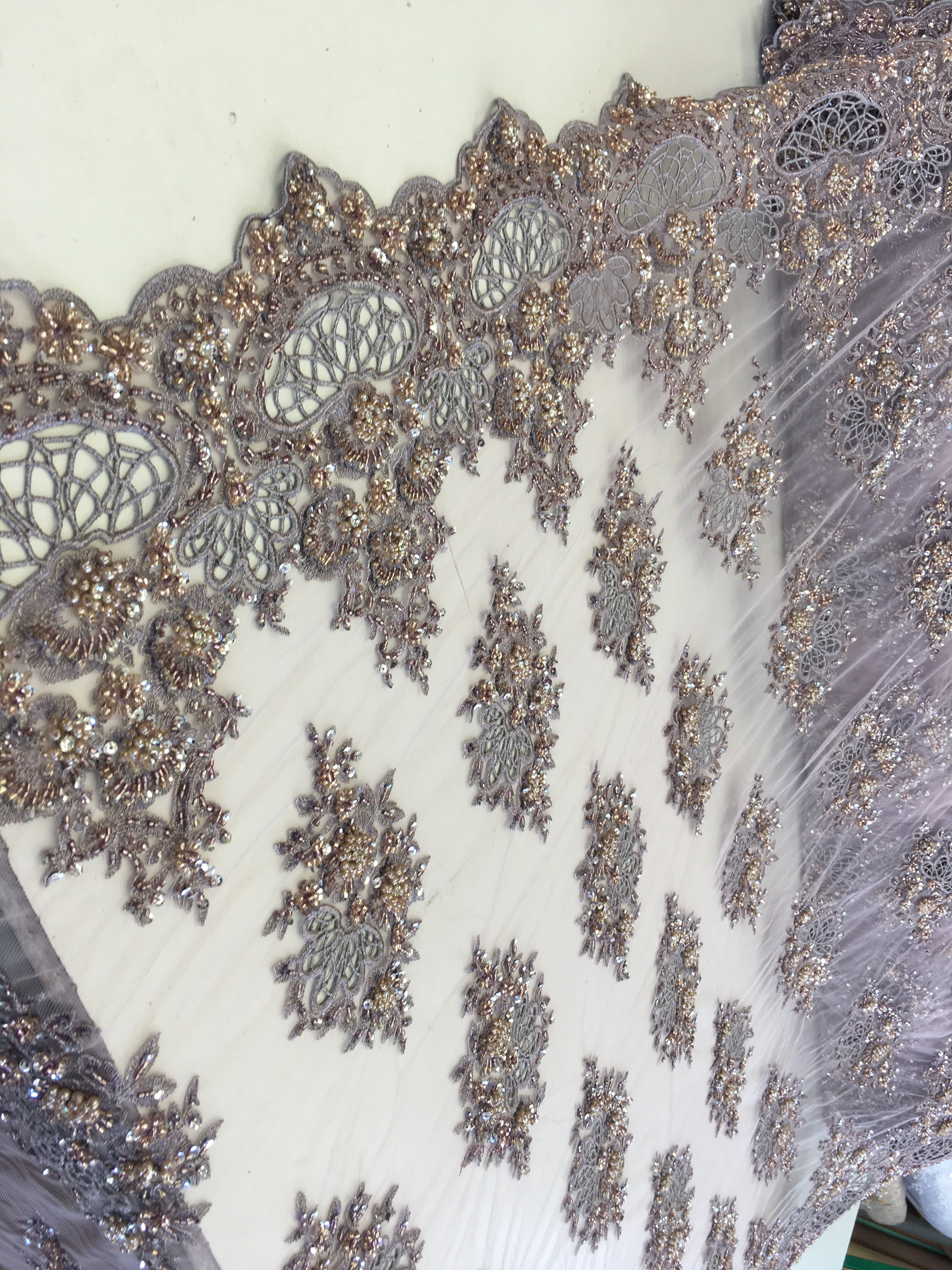 Zohar Designs Beaded Mesh Lace Lavender/Lilac Beaded Fabric Lace Fabric By The Yard Embroider Beaded On A Mesh For Bridal Veil