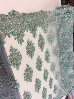 Zohar Designs Beaded Mesh Lace Mint Beaded Fabric Lace Fabric By The Yard Embroider Beaded On A Mesh For Bridal Veil