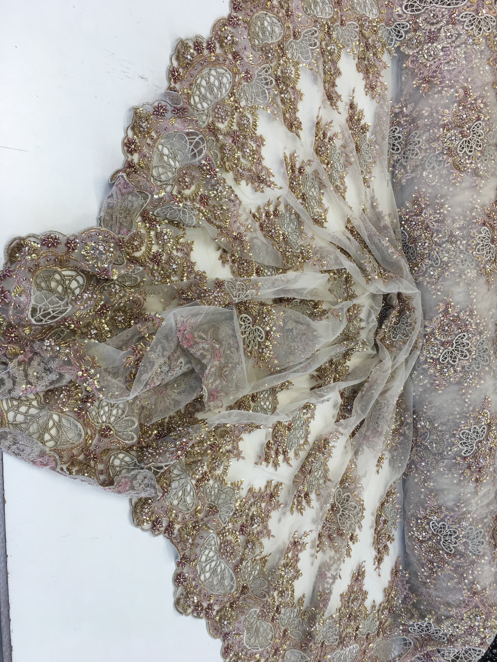 Zohar Designs Beaded Mesh Lace Taupe Beaded Fabric Lace Fabric By The Yard Embroider Beaded On A Mesh For Bridal Veil