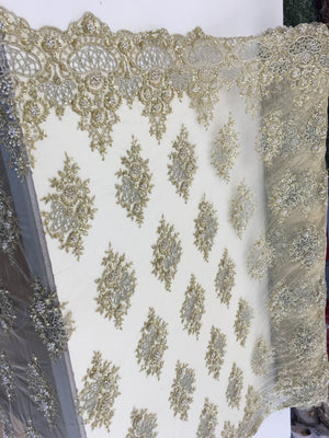Zohar Designs Beaded Mesh Lace Gold Beaded Fabric Lace Fabric By The Yard Embroider Beaded On A Mesh For Bridal Veil
