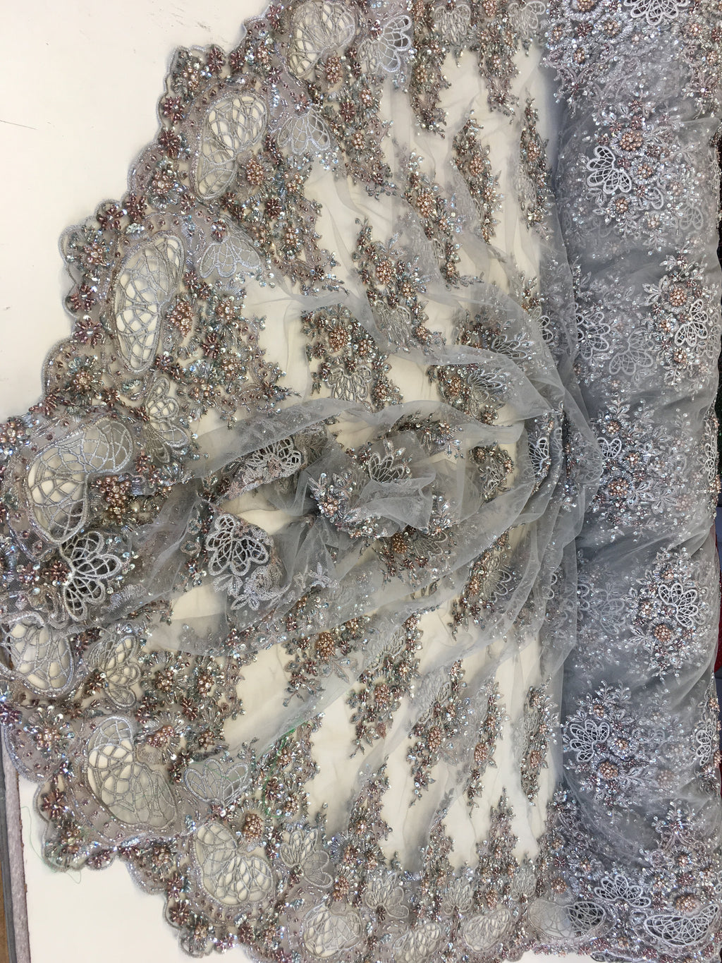 Zohar Designs Beaded Mesh Lace Gray Beaded Fabric Lace Fabric By The Yard Embroider Beaded On A Mesh For Bridal Veil