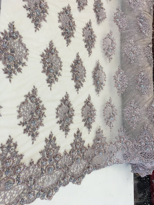 Zohar Designs Beaded Mesh Lace Nude/Skin Beaded Fabric Lace Fabric By The Yard Embroider Beaded On A Mesh For Bridal Veil