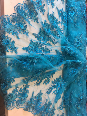 Turquoise Floral Fabric 3D Flower Bridal Beaded Fabric Heavy Embroidered Mesh Dress For Wedding Veil By The Yard