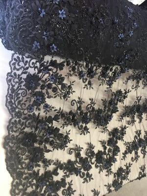 Black Floral Fabric 3D Flower Bridal Beaded Fabric Heavy Embroidered Mesh Dress For Wedding Veil By The Yard - KINGDOM OF FABRICS
