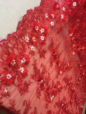 Red Floral Fabric 3D Flower Bridal Beaded Fabric Heavy Embroidered Mesh Dress For Wedding Veil By The Yard