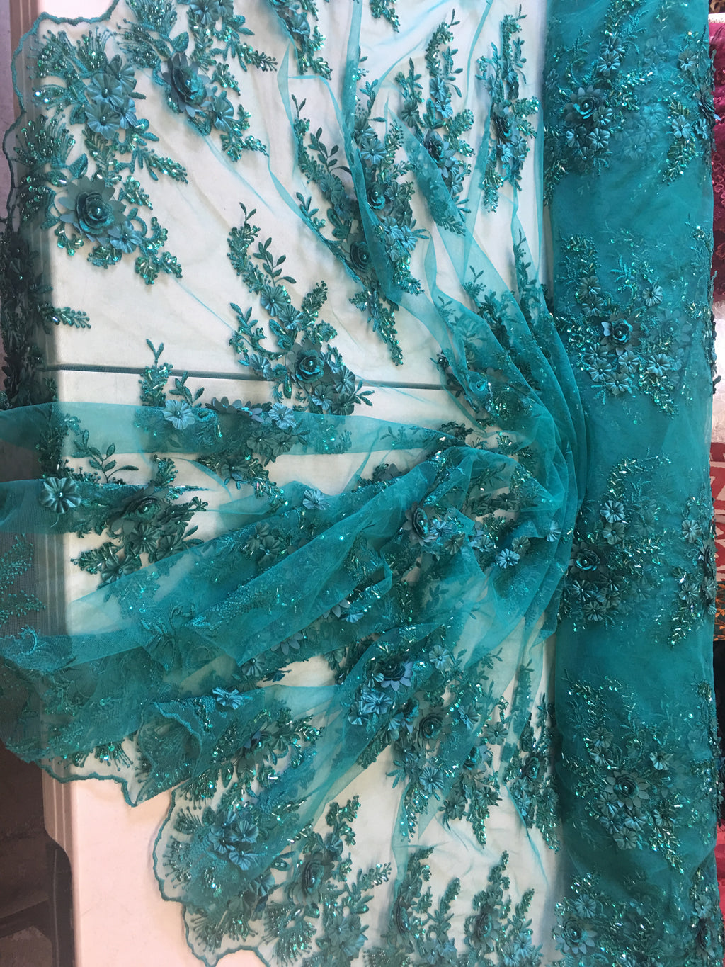 Teal Floral Fabric 3D Flower Bridal Beaded Fabric Heavy Embroidered Mesh Dress For Wedding Veil By The Yard