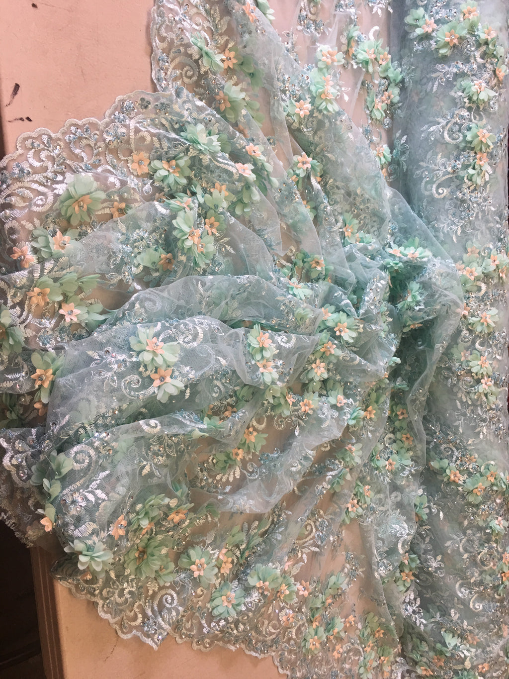 Mint/Aqua Floral Fabric 3D Flower Bridal Beaded Fabric Heavy Embroidered Mesh Dress For Wedding Veil By The Yard