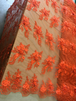Orange Floral Fabric 3D Flower Bridal Beaded Fabric Heavy Embroidered Mesh Dress For Wedding Veil By The Yard