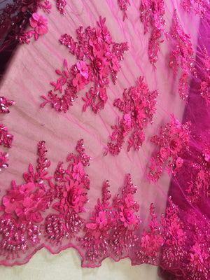 Fuchsia Floral Fabric 3D Flower Bridal Beaded Fabric Heavy Embroidered Mesh Dress For Wedding Veil By The Yard