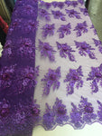 Purple Floral Fabric 3D Flower Bridal Beaded Fabric Heavy Embroidered Mesh Dress For Wedding Veil By The Yard