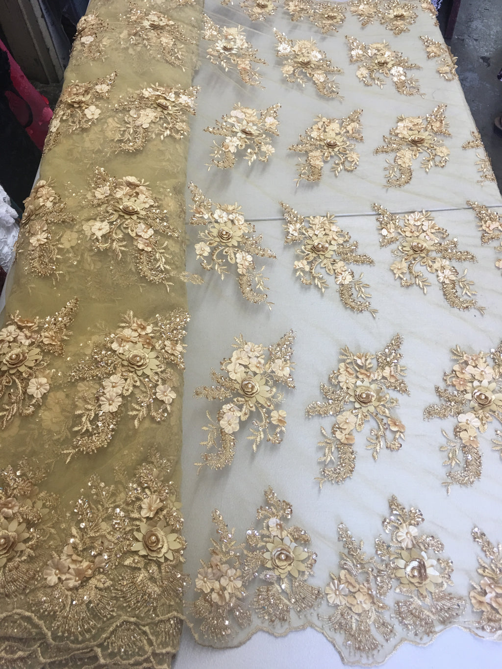 Gold Floral Fabric 3D Flower Bridal Beaded Fabric Heavy Embroidered Mesh Dress For Wedding Veil By The Yard