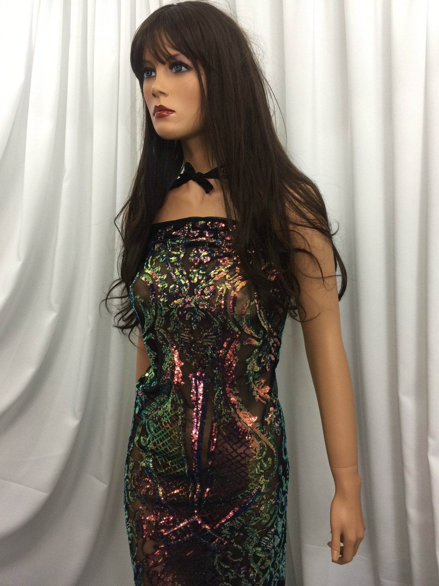 Supreme 4 Way Stretch Iridescent Rainbow Sequins Fabric By The Yard Embroidered Mesh Sequin For Dress Top Fashion Prom Fabric Bridal Wedding