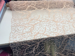 Beaded Fabric - Peach - Lace By The Yard Embroidered Lace With Beads And Sequins French Bridal Veil Wedding Decoration Home - KINGDOM OF FABRICS