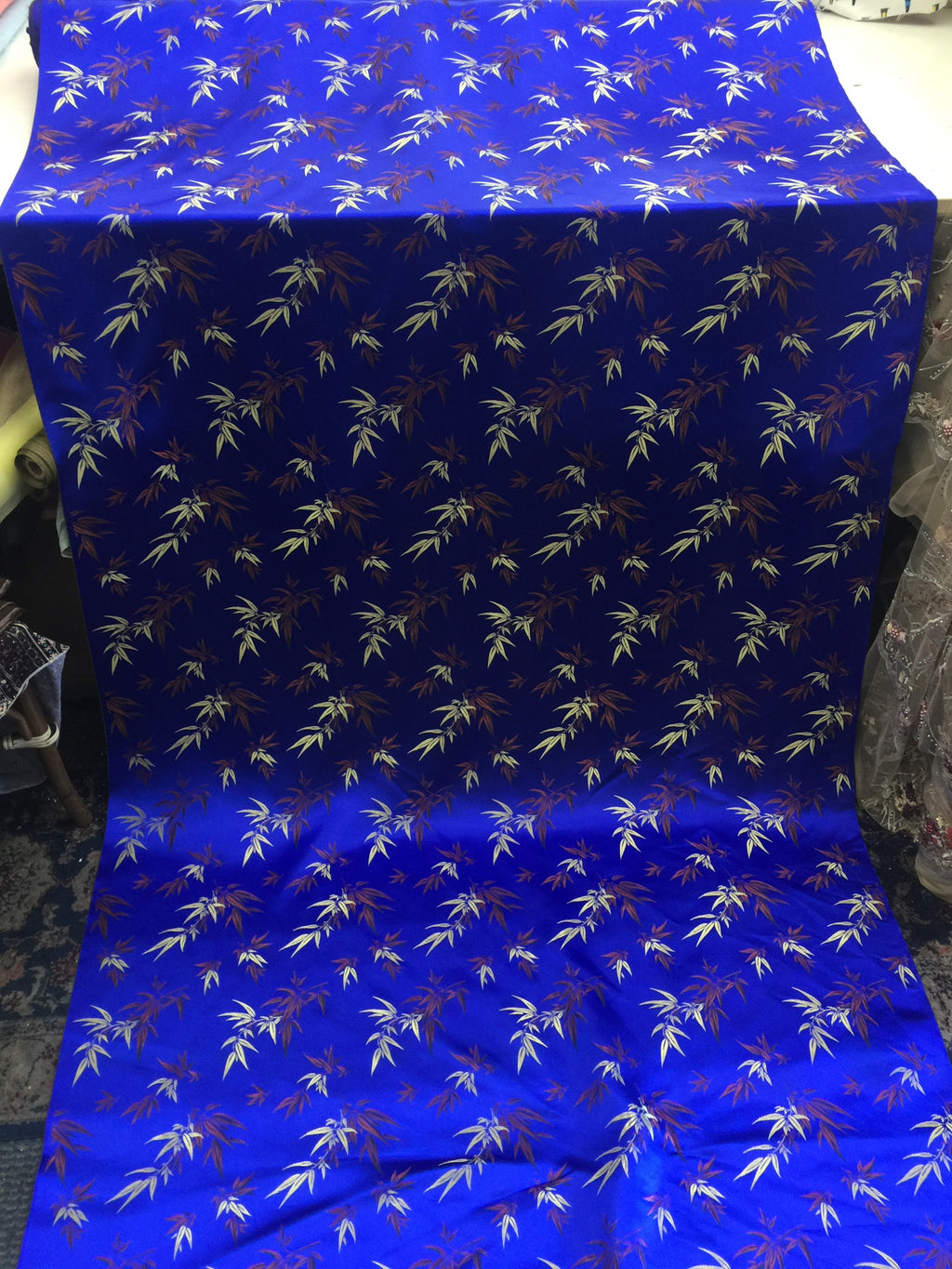 Asian Designs stunning faux silk Bamboo phoenix Brocade satin Royal Blue fabric designer material by yard - KINGDOM OF FABRICS