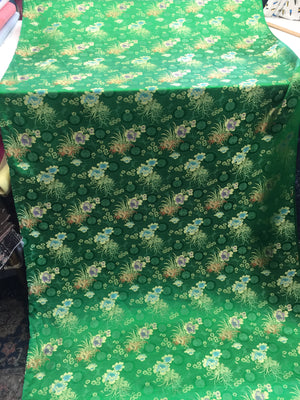 Asian Designs stunning faux silk Medallion phoenix Brocade satin Green fabric designer material by yard - KINGDOM OF FABRICS