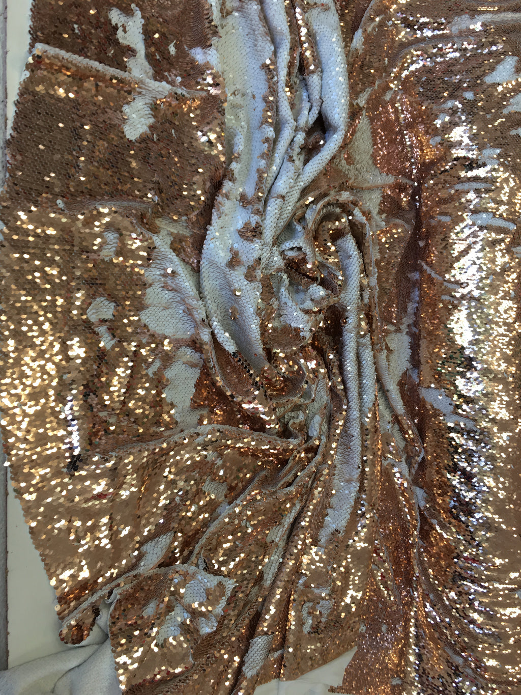 New Unicorn Rose Gold White Iridescent Both SidesNewTwo Tone Flip up Sequins/Reversible Sequins Fabric Sold By The Yard