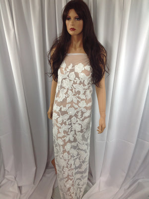 Prosperity Design Leafs Lace Fabric Flower Mesh Dress Sequins Shiny White Bridal Wedding By The Yard - KINGDOM OF FABRICS