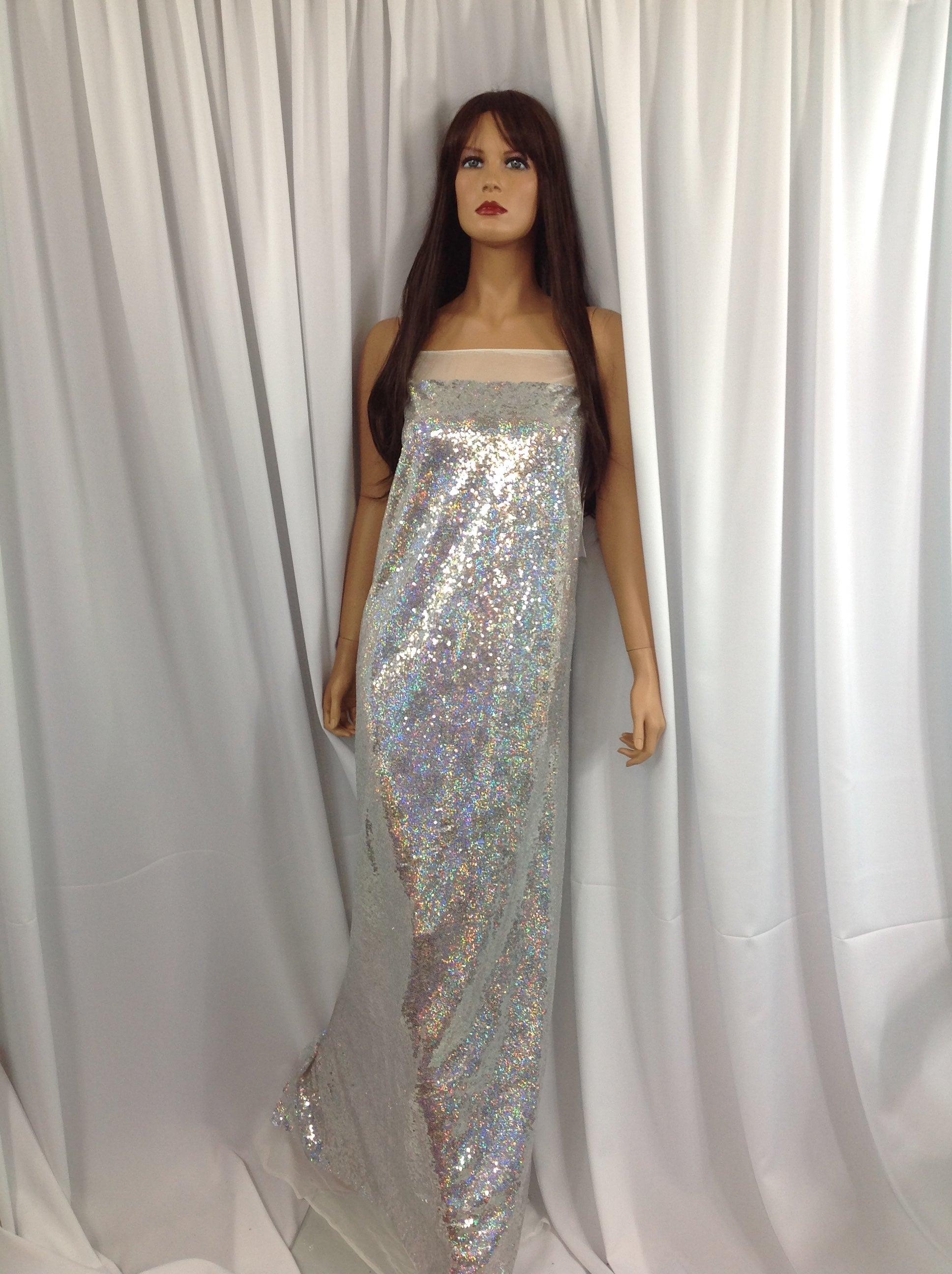 Mermaid Fabric - Multicolor Silver Mini Sequins Embroidered Mesh Dress Top By The yard.