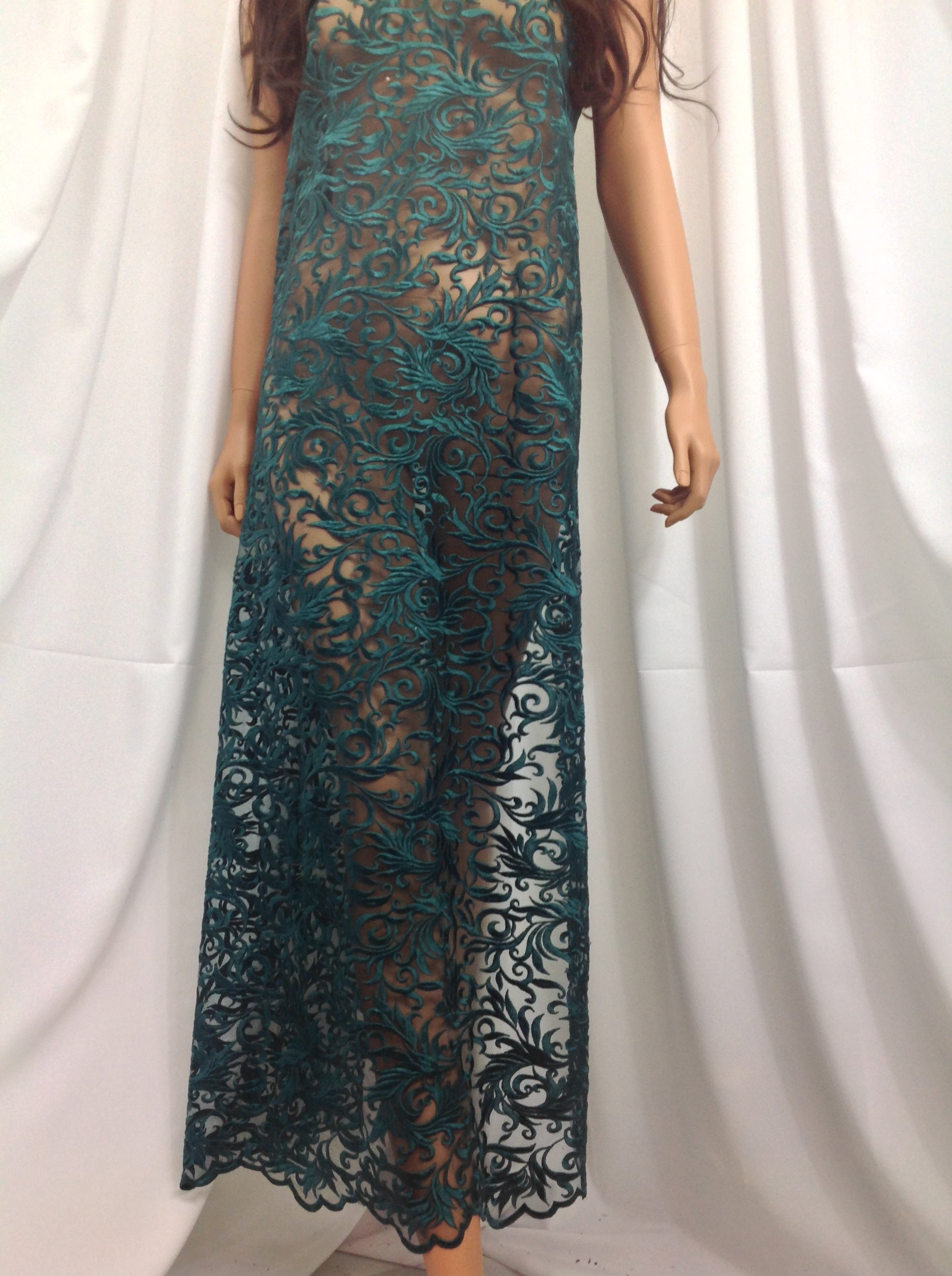 Precious Design Green Guipure Lace - Mesh Dress Top-Trim Bridal Wedding Decorations By The Yard - KINGDOM OF FABRICS