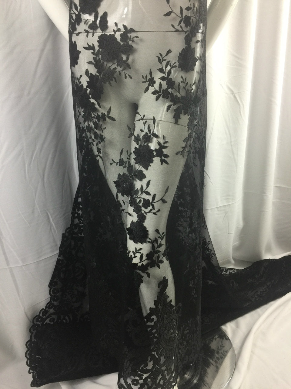 Dynasty's Design mesh Lace Fabric Bridal Wedding black. Sold By The Yard - KINGDOM OF FABRICS