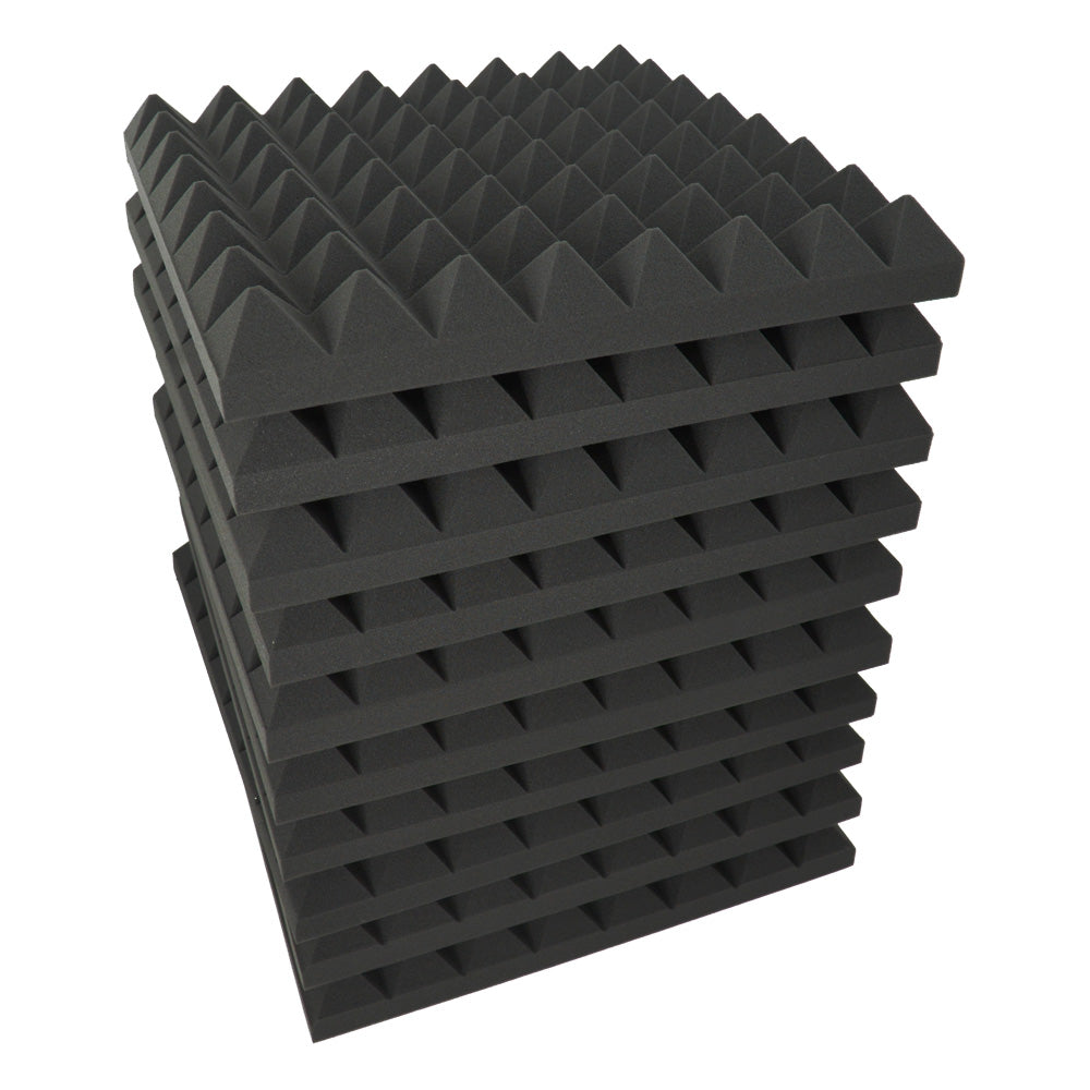 "24 Pack - Acoustic Foam Sound Absorption Pyramid Studio Treatment Wall Panels, 2"" X 12"" X 12"" - KINGDOM OF FABRICS"