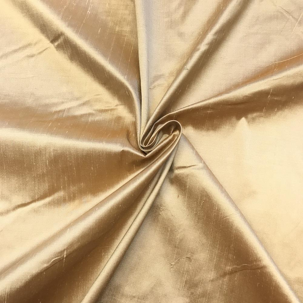 "Light Gold 100% Pure Silk Shantung Fabric 54""Wide BTY Drape Blouse Dress Craft Sold By The Yard."