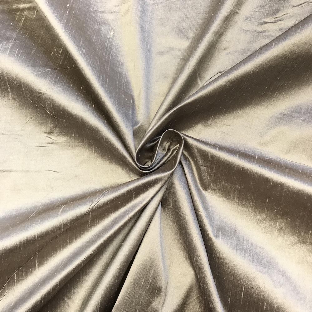 "Metallic Silver 100% Pure Silk Shantung Fabric 54""Wide BTY Drape Blouse Dress Craft Sold By The Yard."