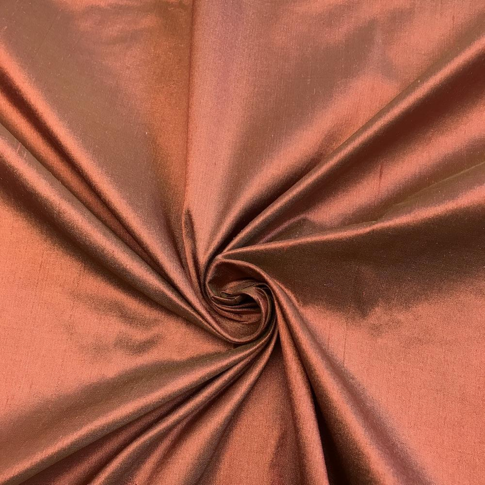 "Rust 100% Pure Silk Shantung Fabric 54""Wide BTY Drape Blouse Dress Craft Sold By The Yard."