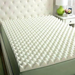 "4"" X 39"" X 80"" Egg Crate Convoluted Foam Mattress Pad - 4"" Thick EggCrate Mattress Topper White/Off White/Yellow - KINGDOM OF FABRICS"