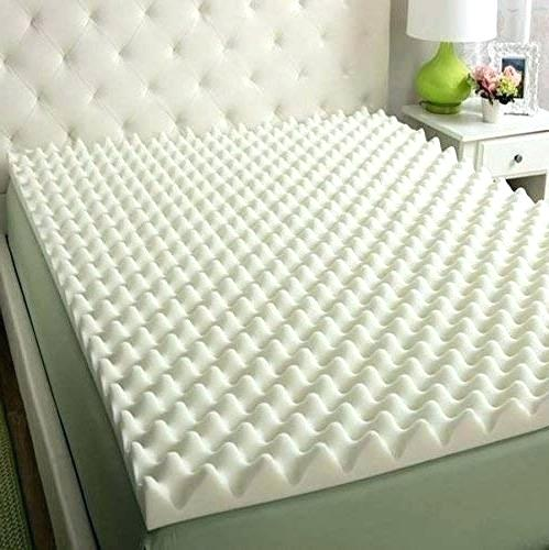 "2"" X 76"" X 80"" Egg Crate Convoluted Foam Mattress Pad - 2"" Thick EggCrate Mattress Topper White/Off White/Yellow - KINGDOM OF FABRICS"